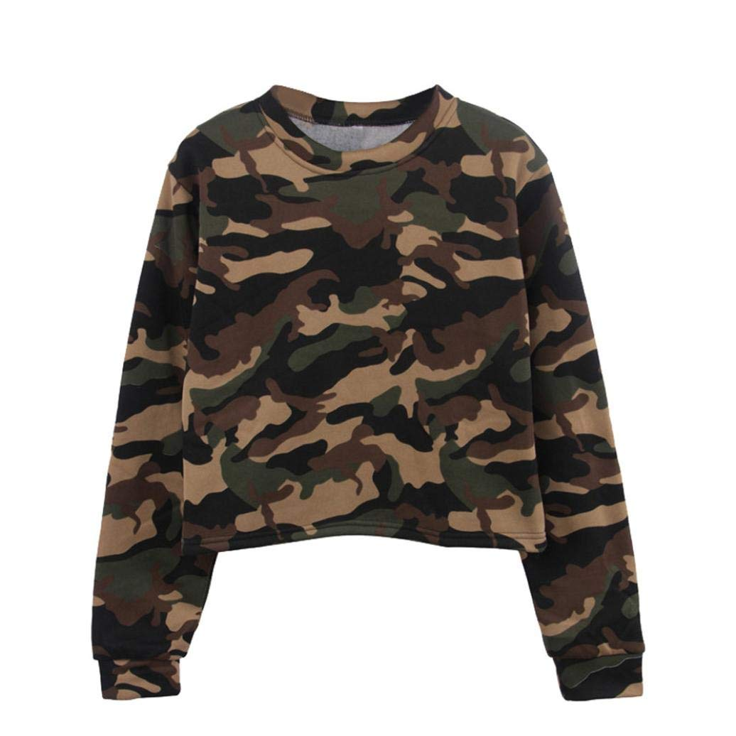 fd2077c8 Get Quotations · JPOQW-winter Women's Camouflage Pullover Sweatshirt Long  Sleeve Top O Neck Casual Shirt Blouse