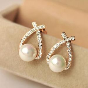 RLE07 Korean Style Cross Pearl Flash Crystal Diamond Ear Studs Exquisite Fashion Earrings Jewelry