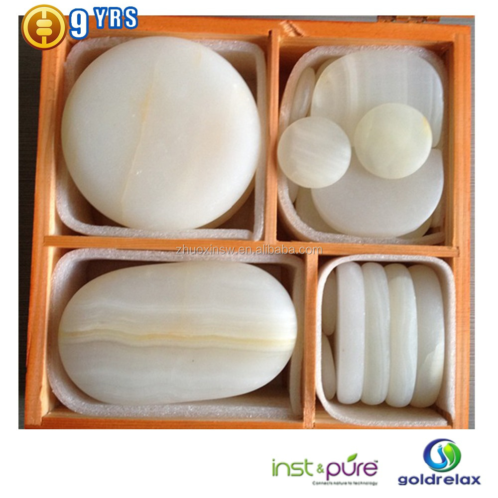 Cold spa massage stone with wooden box packing