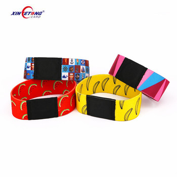 NFC RFID elastic woven bracelet with logo/number printing