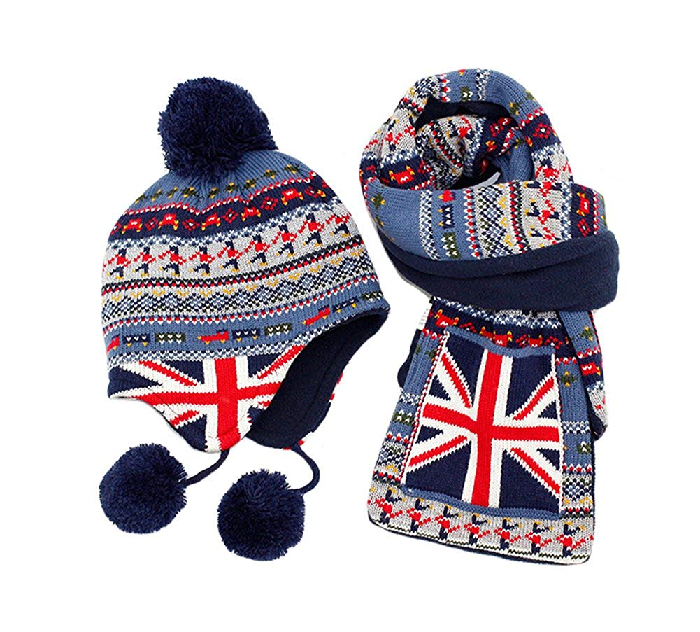 47d3da64153 Get Quotations · Genda 2Archer Cute Kids Boys Girls Winter Knit Flag Ear  Flap Beanie Hat Scarf Set