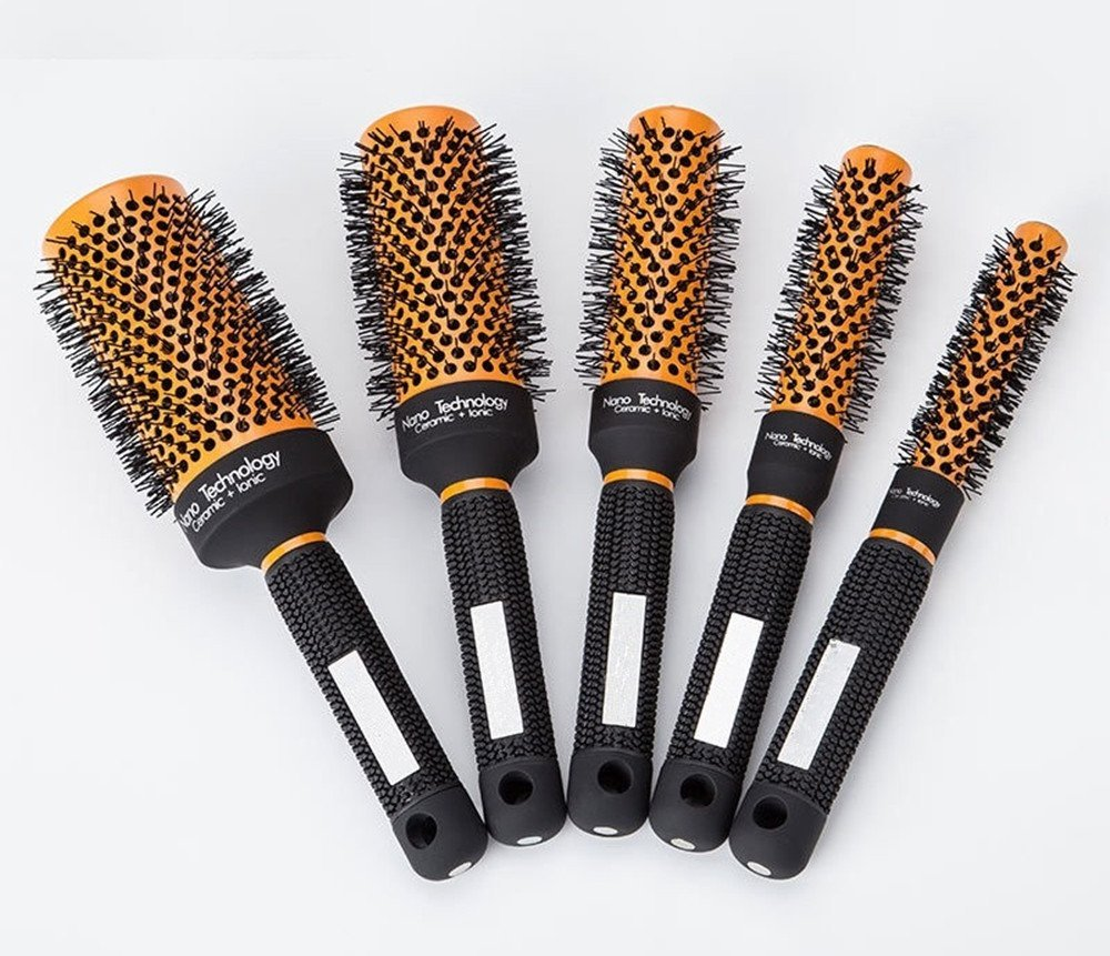 Round Barrel Hair Brush Nylon Bristles,Professional Salon Styling Tool Fast Blow Dry Hairbrush For Women Men Detangling Curly Wavy Straight Hair Volume,Detangler Styling Brush (5-piece set)