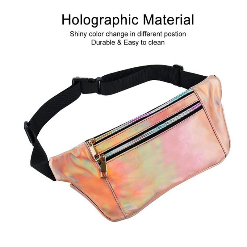 Oempromo custom print colorful holographic fanny pack bag