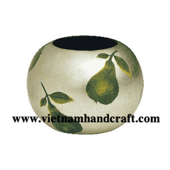 Eco-friendly hand finished vietnamese silver leaf lacquered bamboo home accessories with hand painted pears