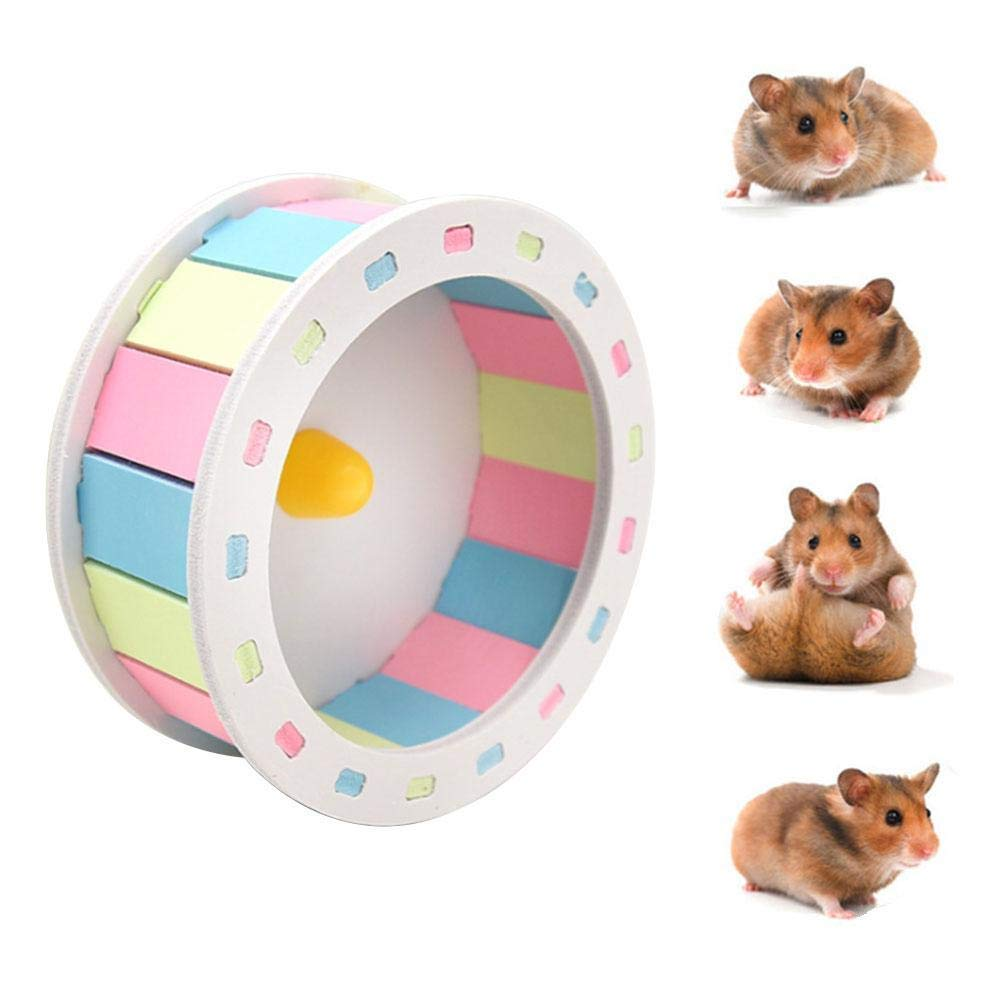Aolvo Silent Hamster Wheel, Dwarf/Syrian Hamster Toys, Exercise Running Spinner, Habitat Accessories, Pet Hideout Place for Small Animals Like Rat, Chinchilla, Guinea Pig, Hedgehog, Ferret - 5.12""