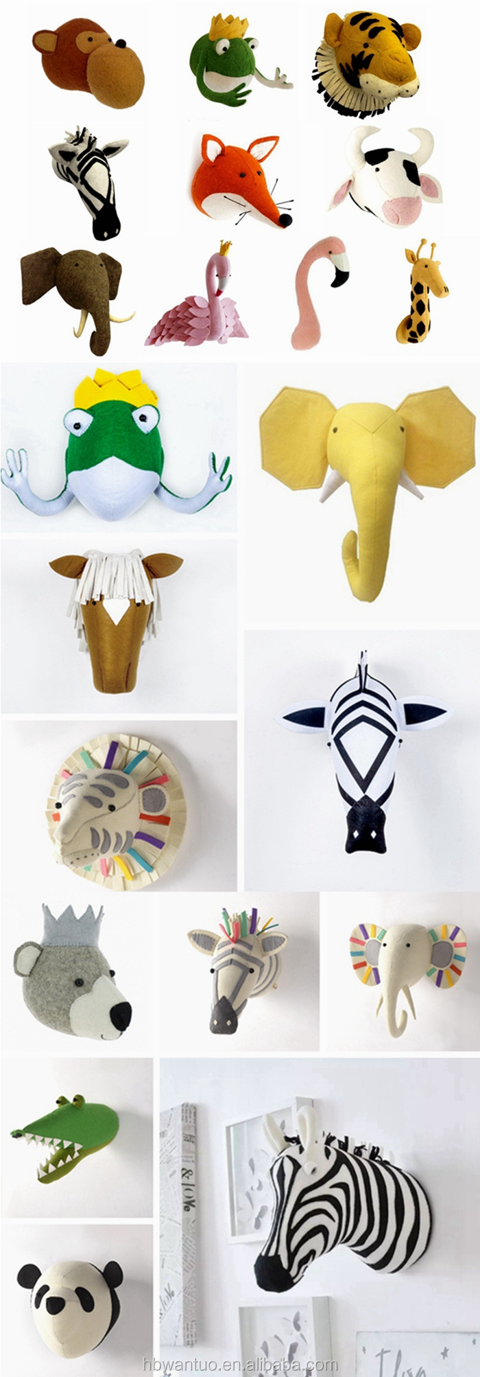 Hot Sell Felt Animal Head for Baby Room Decor Baby Kids Bedroom Hangings Wall Decoration