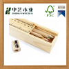 Custom shaped wooden pencil case wholesale, sanding wooden pencil packaging box with lid