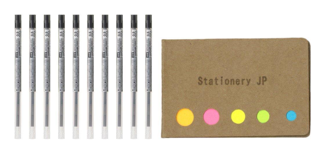 Uni-ball Signo Gel Ink Refills for Uni Style Fit Gel Multi Pen 0.5mm Black Ink, 10-pack, Sticky Notes Value Set