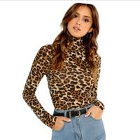 Brown Highstreet Office Lady High Neck Leopard Print Fitted Pullovers Long Sleeve Tee 2019 Autumn Casual Women T-shirt