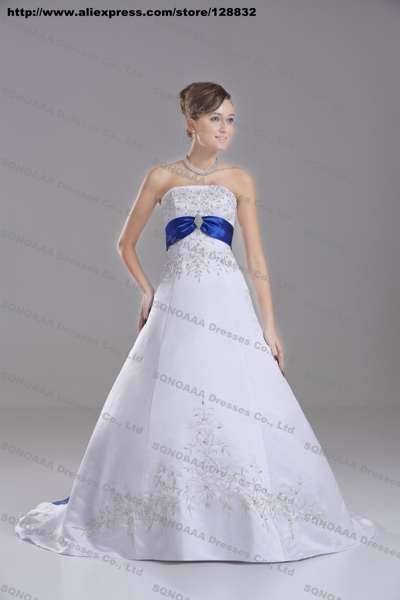 Discount Silver Embroidery White Royal Blue Stain A line ...