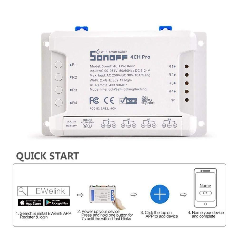 Smart WiFi Switch Wireless Control Sonoff 4CH 4 Channels Smart Switch for Phone Control APP Wireless Remote Wifi Switch/Auto-lock/Interlock WiFi RF Smart Switch