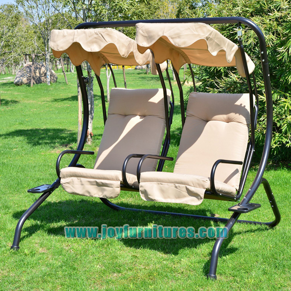 Outsunny Garden Outdoor Swing Chair 2 Seater Swinging Hammock Patio Cushioned Seat With Tray