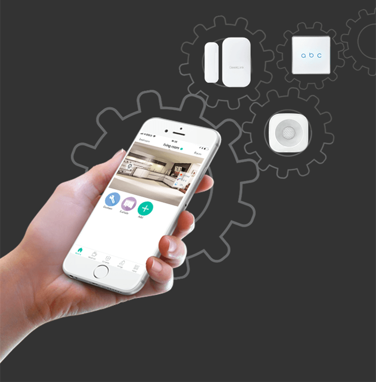 Geeklink thinker Mini home automation gateway  app real-time control smart house security alarm system