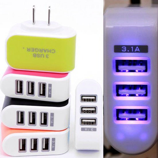 2018 Trending High Speed Shenzhen 5v 3.1A 3 Port Mobile Phone wall charger USB Wall Charger for iphone 8 charger for Samsung 8