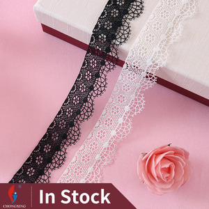 HM112-35 Latest designs black and withe polyester crochet lace skirt trim wholesale in stock
