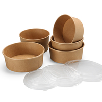 2019 Disposable Kraft paper soup bowl biodegradable food container Eco-friendly food take away packaging box