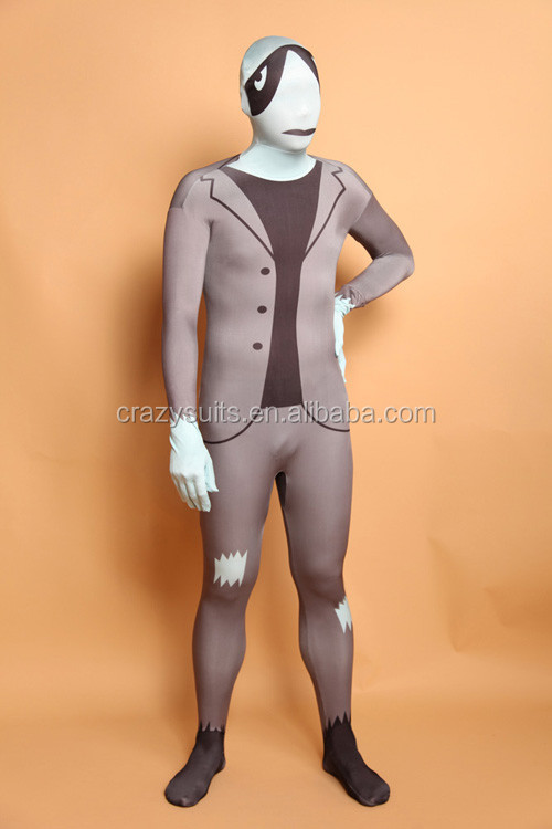 unisex adult gray slender man second skin zentai suits cosplay dress - Halloween Costume Slender Man