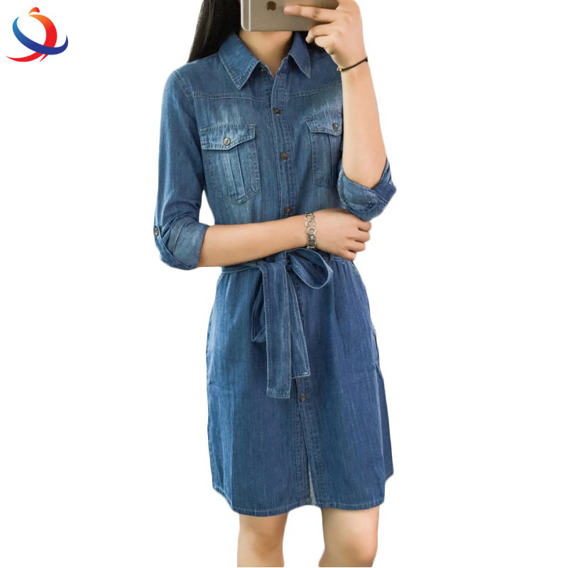 Fashion Different Designs Women Denim Tunic Pullover Dress With Belt