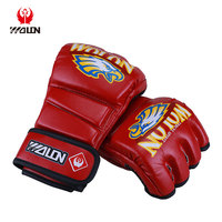 8 - 16 OZ UFC Fitness MMA Training winning custom Boxing Gloves In Black PU Leather Muay Thai Mixed Martial Art Mitts