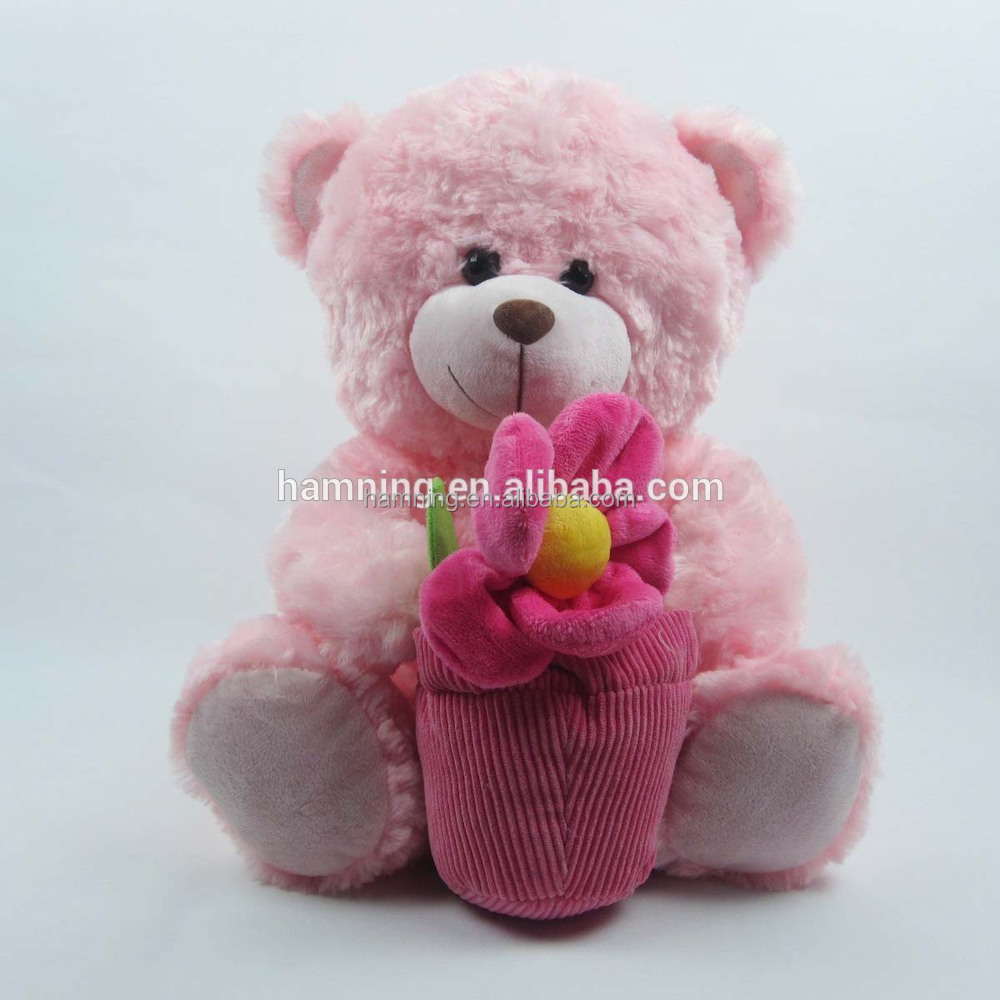 Soft Plush Teddy Bear Toys with A Basket Of Flowers Stuffed Teddy Bear Doll