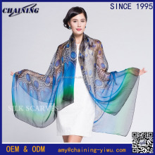 2017 digital print peacock pattern 100% silk long chiffon scarf for ladies women