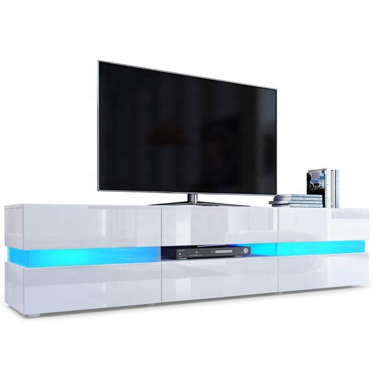 high gloss white wholesale blue Led light wooden tempered glass tv <strong>stand</strong> With Showcase