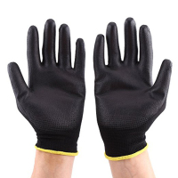 PU coated nylon glove electronic industrial work finger gloves