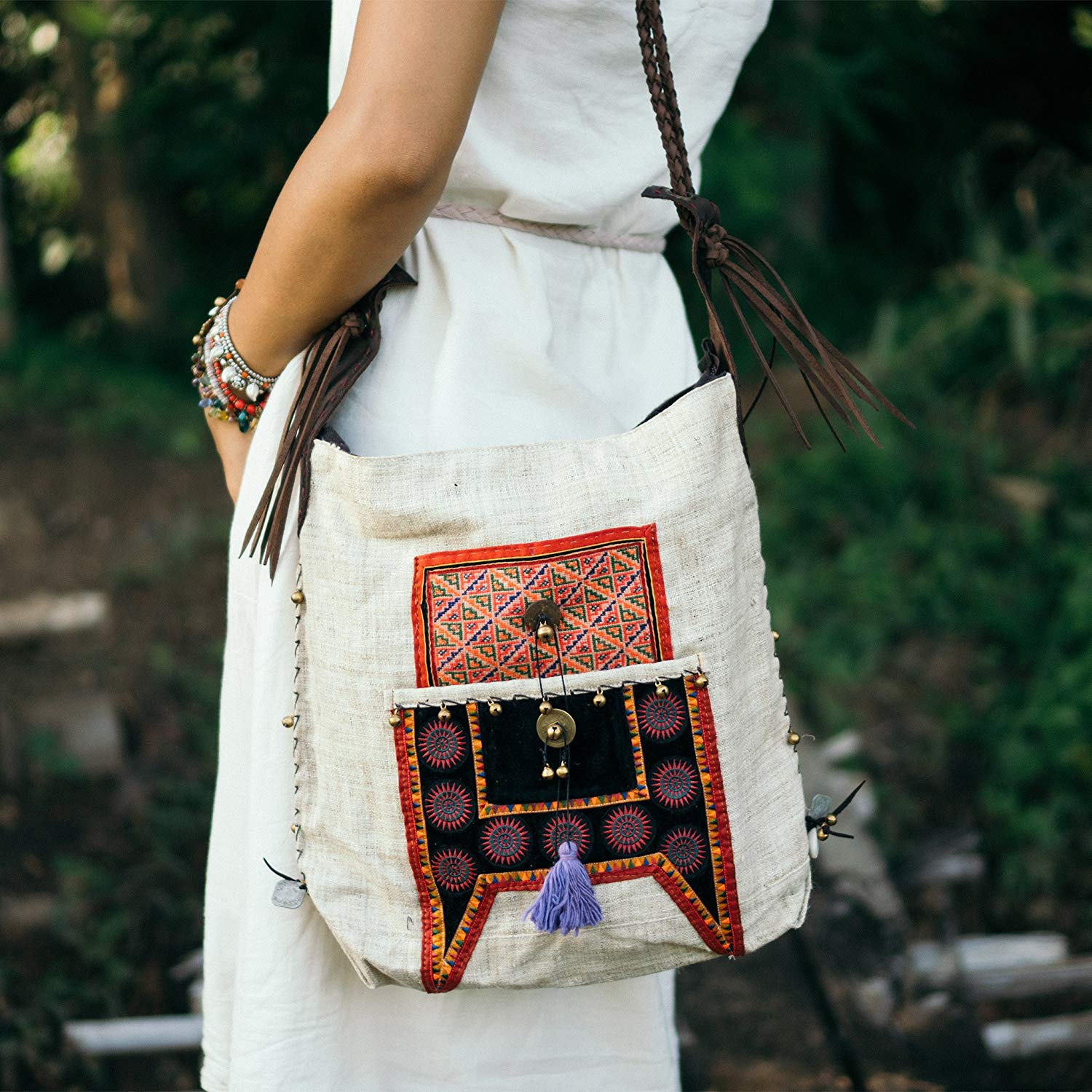 Get Quotations · Changnoi Handcrafted Hippie Crossbody Bag with Hmong Hill  Tribe Embroidered with Leather Strap 4525179395cab