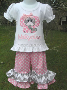 Wholesale baby girls applique outfits kids boutique puff sleeve t shirt and polka dots chevron ruffle pants clothing set