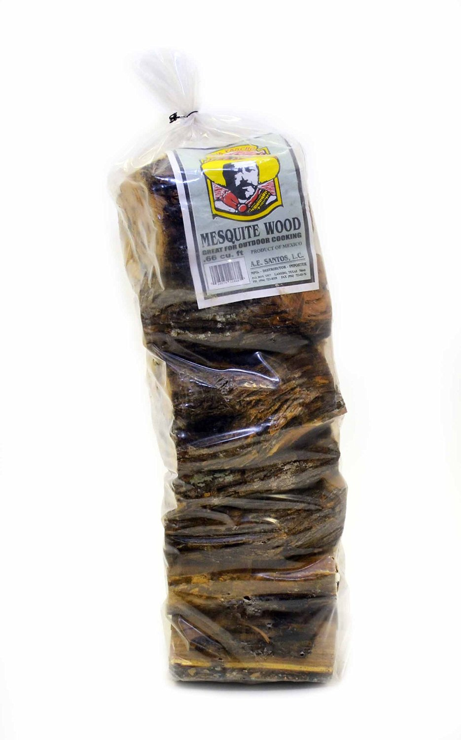 0.66 CUBIC FOOT BAG OF NATURAL 100% MESQUITE WOOD FOR GRILLING. 7 INCH LONG LOGS