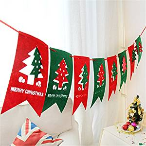 Skango(TM) 2.5m Merry Christmas Xmas Hang Window Tree Part Decoration Pull Flag Christmas Red and Green Party Pub Banner 3pcs Xmas Gifts