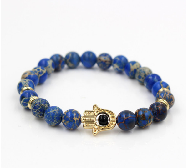 Fashion charm jewelry imperial crown king men bracelet custom gemstone stone bead bracelet