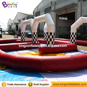 Alibaba factory customized inflatable go kart race track for zorb ball game