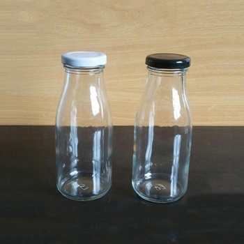 250ml empty glass milk bottle for juice with metal lid