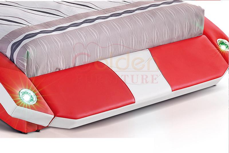 Pelle queen size telaio del letto rosso letto matrimoniale con