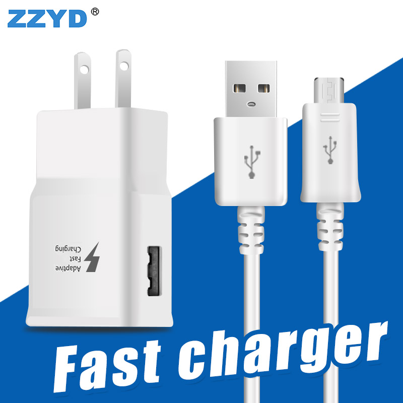 ZZYD Wall Charger 2.1A Power Adapter With Micro Cable US plug Fast Charging Adapter For Mobile Phone Chargers Quick Adapter Kit