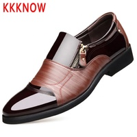 KKKNOW new leather shoes male shiny leather business dress shoes youth Korean version dress shoes men genuine leather