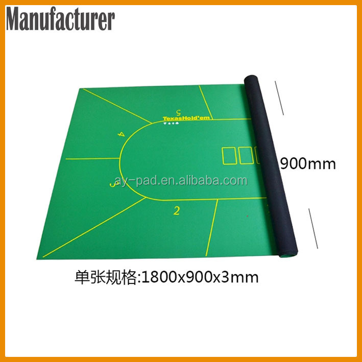 AY Green Poker Pool Table Manufacturers Casino Rubber Poker Table Mat With  ROSH Approved, Trade