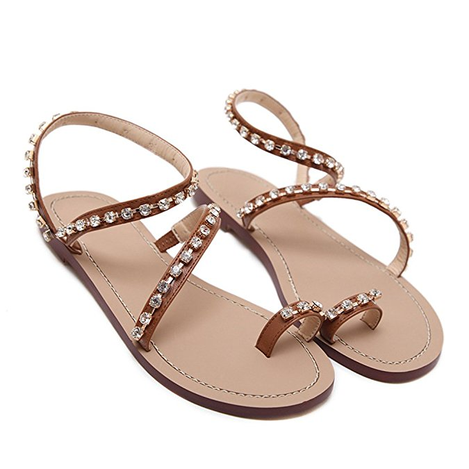 2018 Summer Ladies Fancy Flat Crystal Sandals