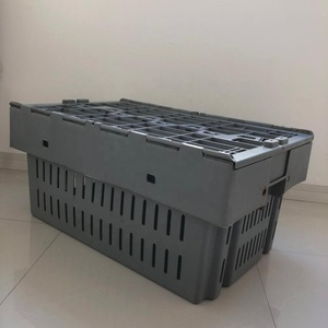Plastic moving crate with cover for lobster crab