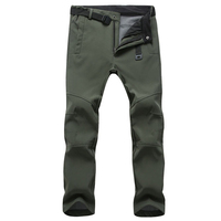 Men's Softshell Pants Outdoor Waterproof Pants Men Snow Ski Hiking Fleece Lined Trousers