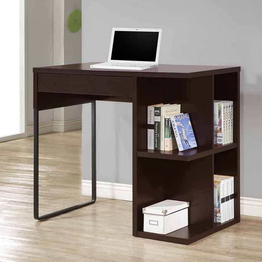 1PerfectChoice Contemporary Office Writing Computer Standing Desk Open Bookcase Drawer Brown