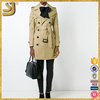 SHANGYI london style trench coat women's fashion pu leather binding long coat, leather sleeves trench coat