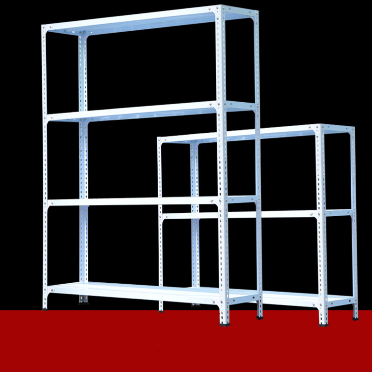 Container with angle iron shelving post racking systems
