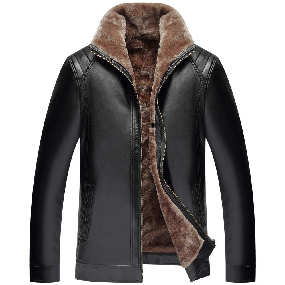 Mens Leather Jacket,Winter Fur Lapel Button Up Bomber Jacket Motorcycle Pullover Coat Windbreaker Clothes Zulmaliu