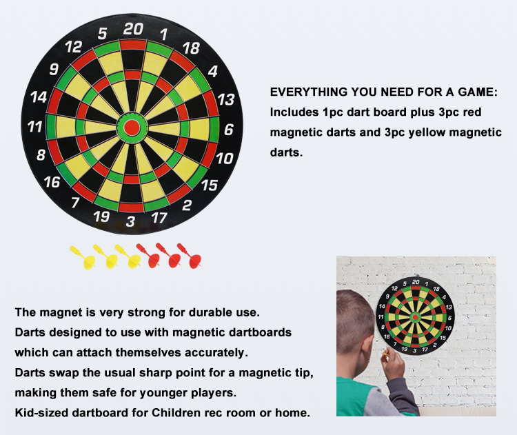 Magnetic Dart Board Game Full Set with 3 Green and 3 Red Darts in Cardboard Box