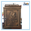 Vintage cast aluminum iron free standing mailbox