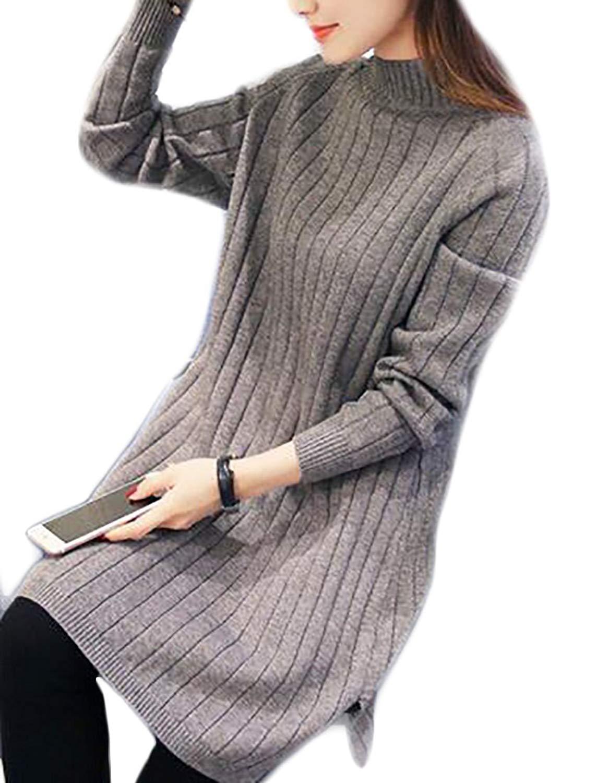 GenericWomen Generic Women's Casual Long Sleeve Mock Neck Side Slit Solid Knit Casual Pullover Sweater