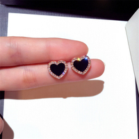 Kaimei new products 2018 fashion jewelry korea cute small heart earring rhinestone korean style stud designer earrings for women