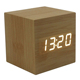 Desktop Modern Square Colorful Wooden Bamboo temperature display Single Face Thermometer Led Alarm Clock